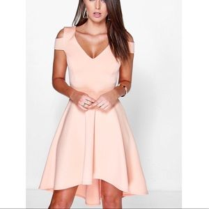 Clea Bardot Strap Plunge High Low Skater Dress